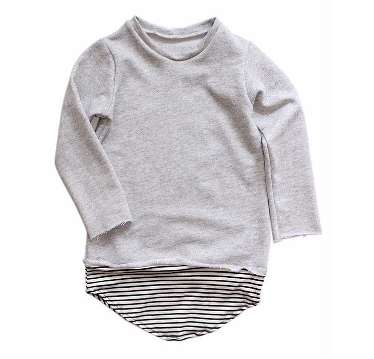 Long Sleeve Top - B/W Striped Tail