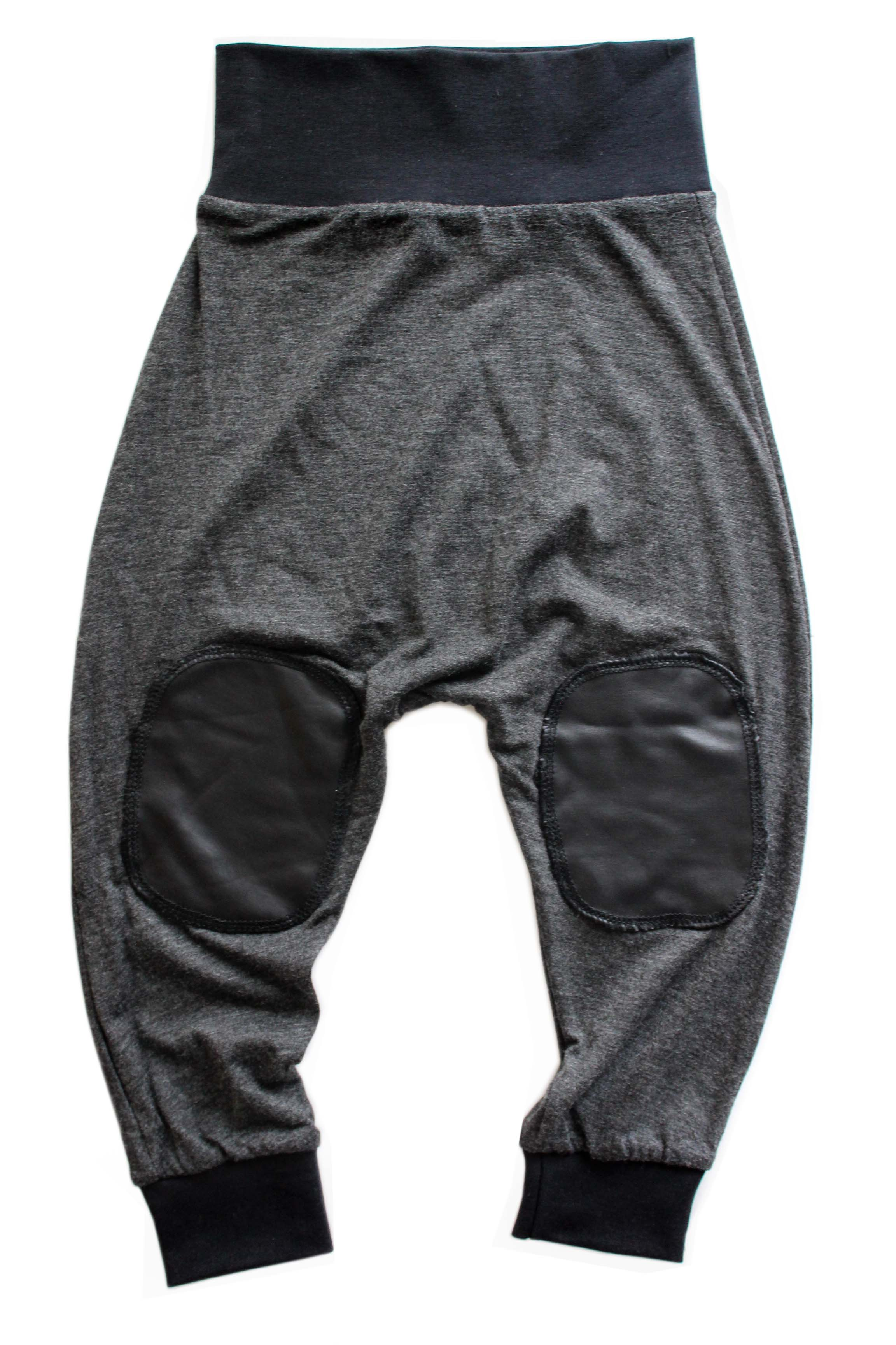 Heather Charcoal Pleather Patch Harems
