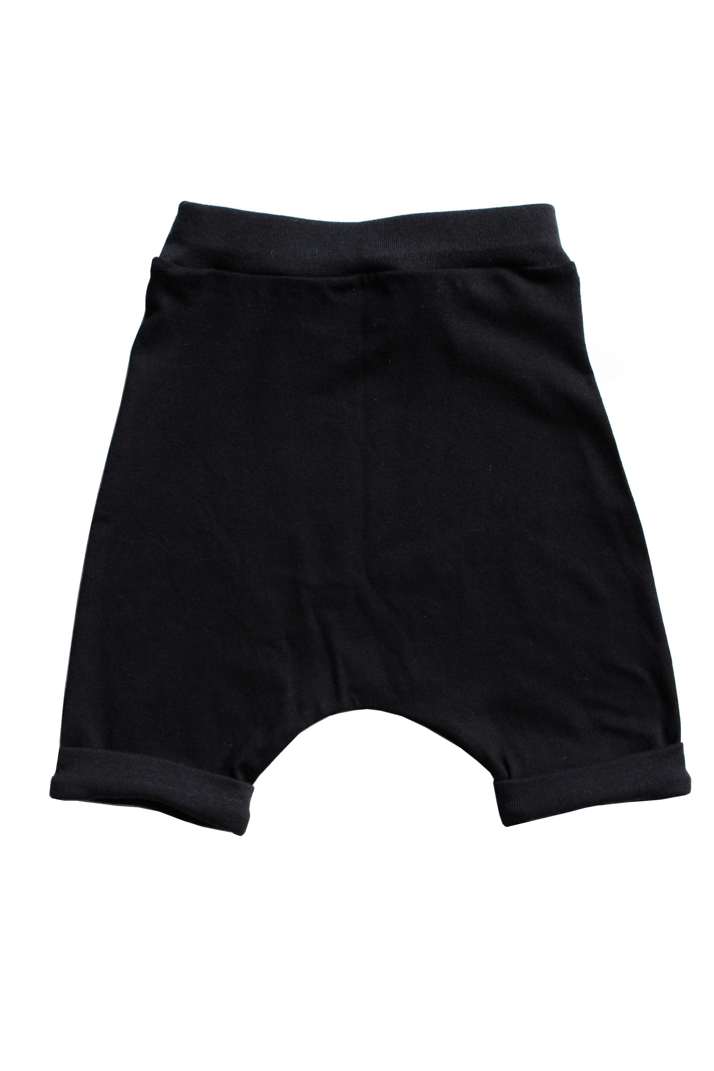 Solid Black Harems Shorts