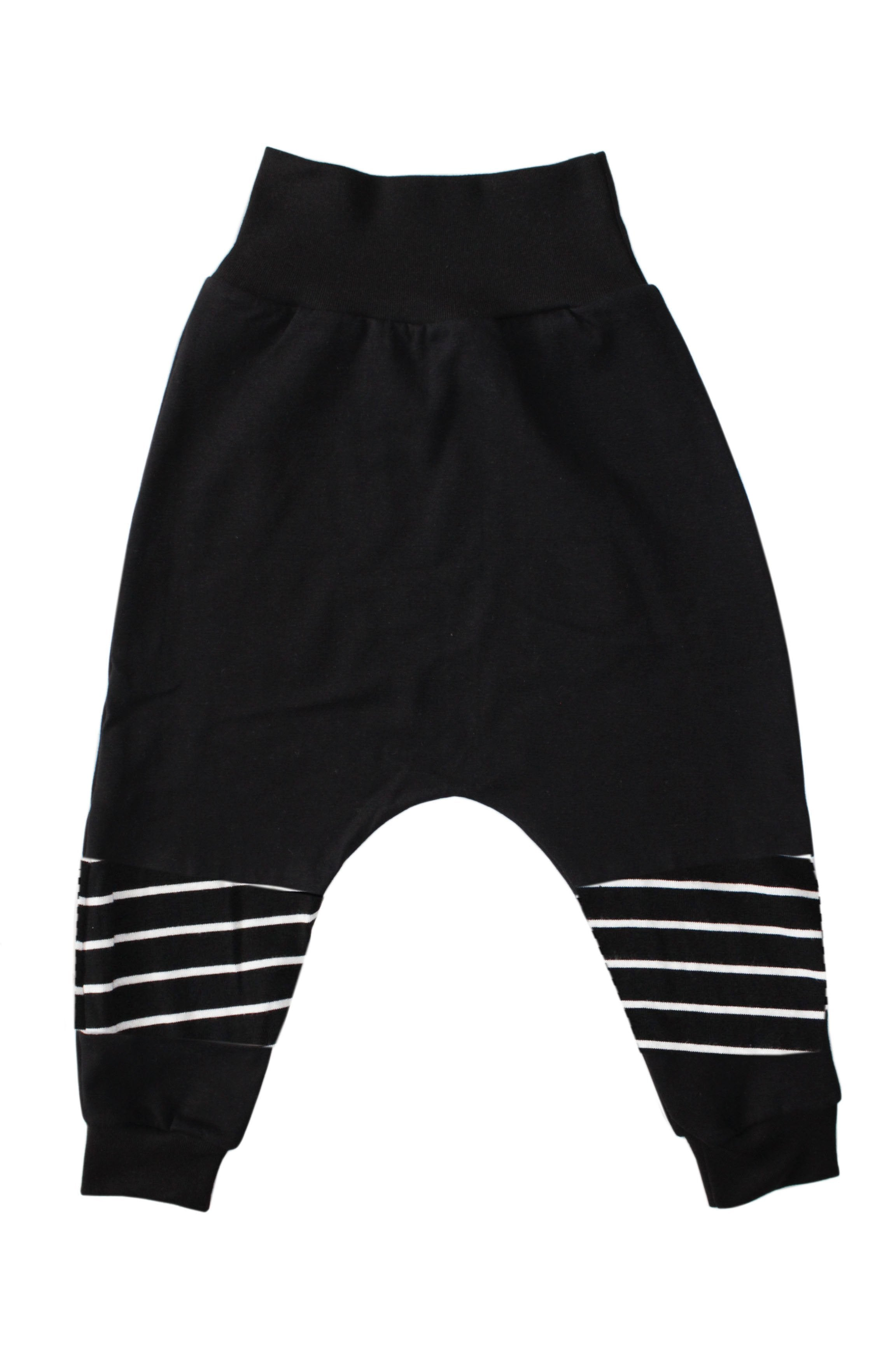 Panel Harem Pants - B/W Striped
