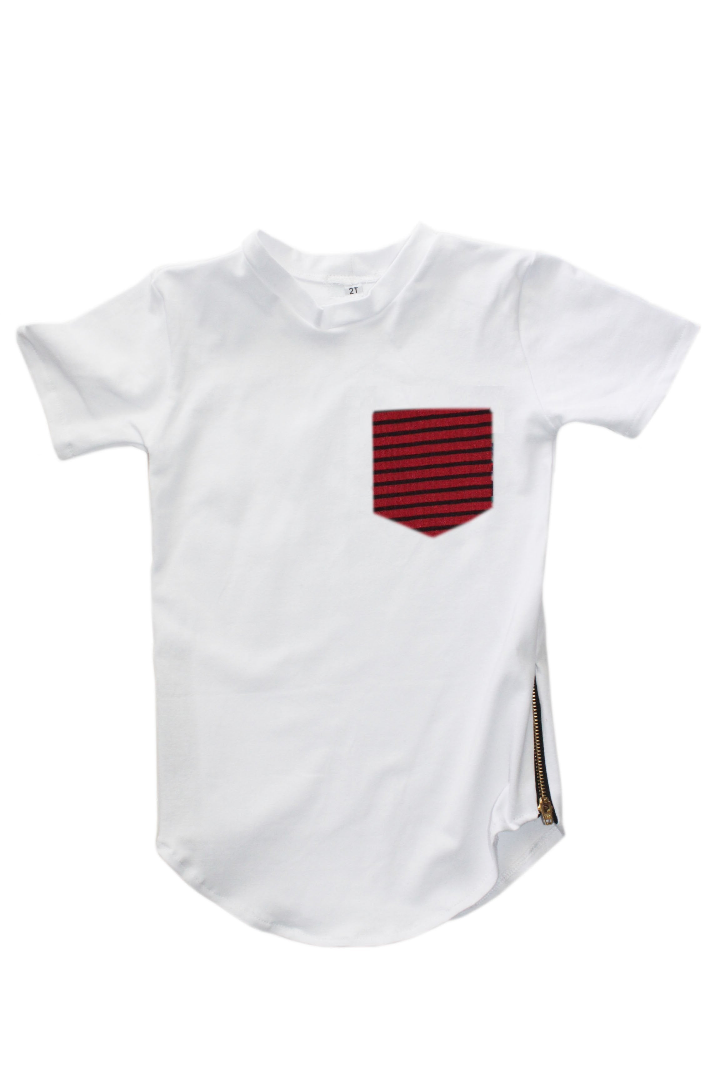 Zipper Pocket Tee - RB Striped (White)