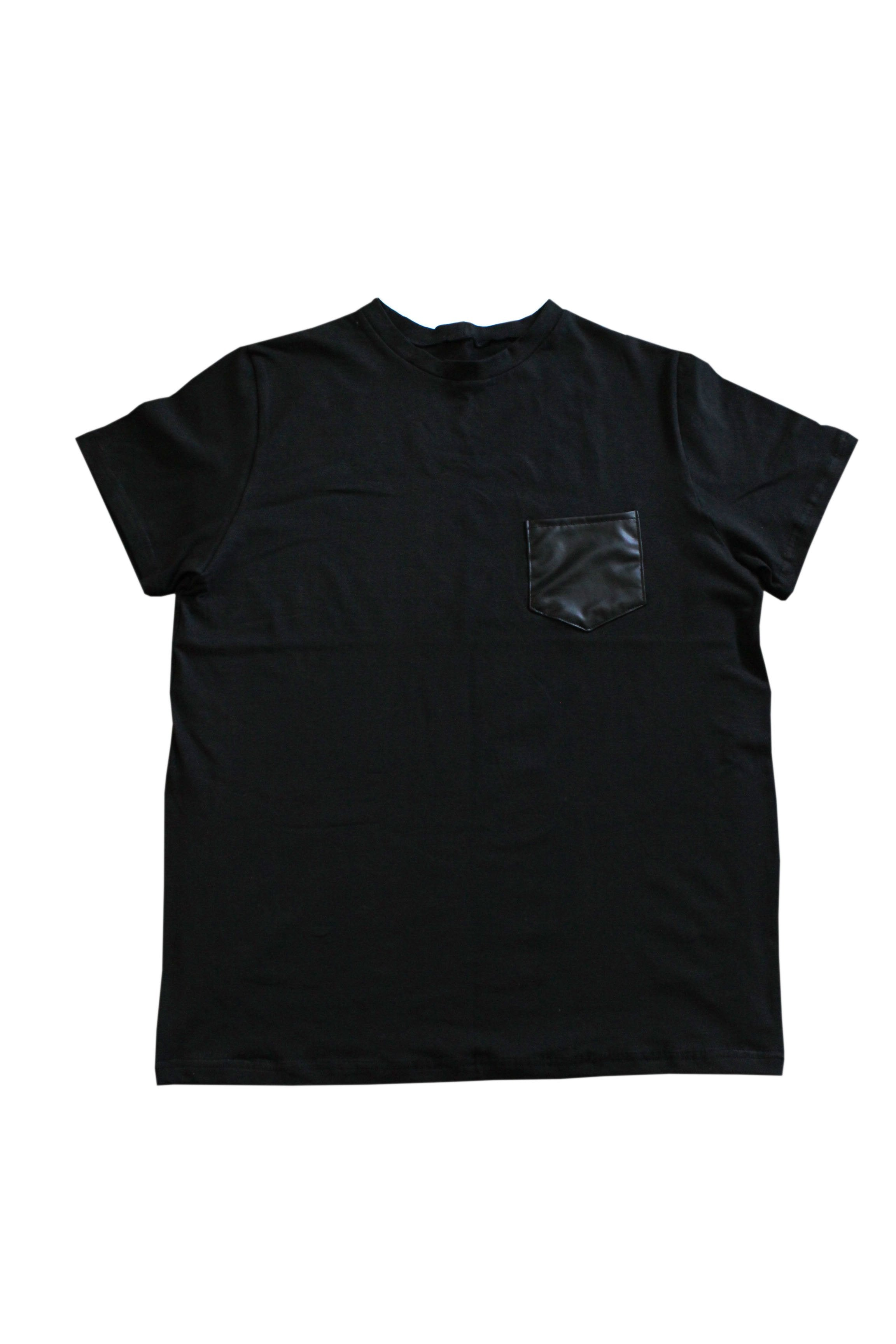 Men - Faux Leather Pocket Tee