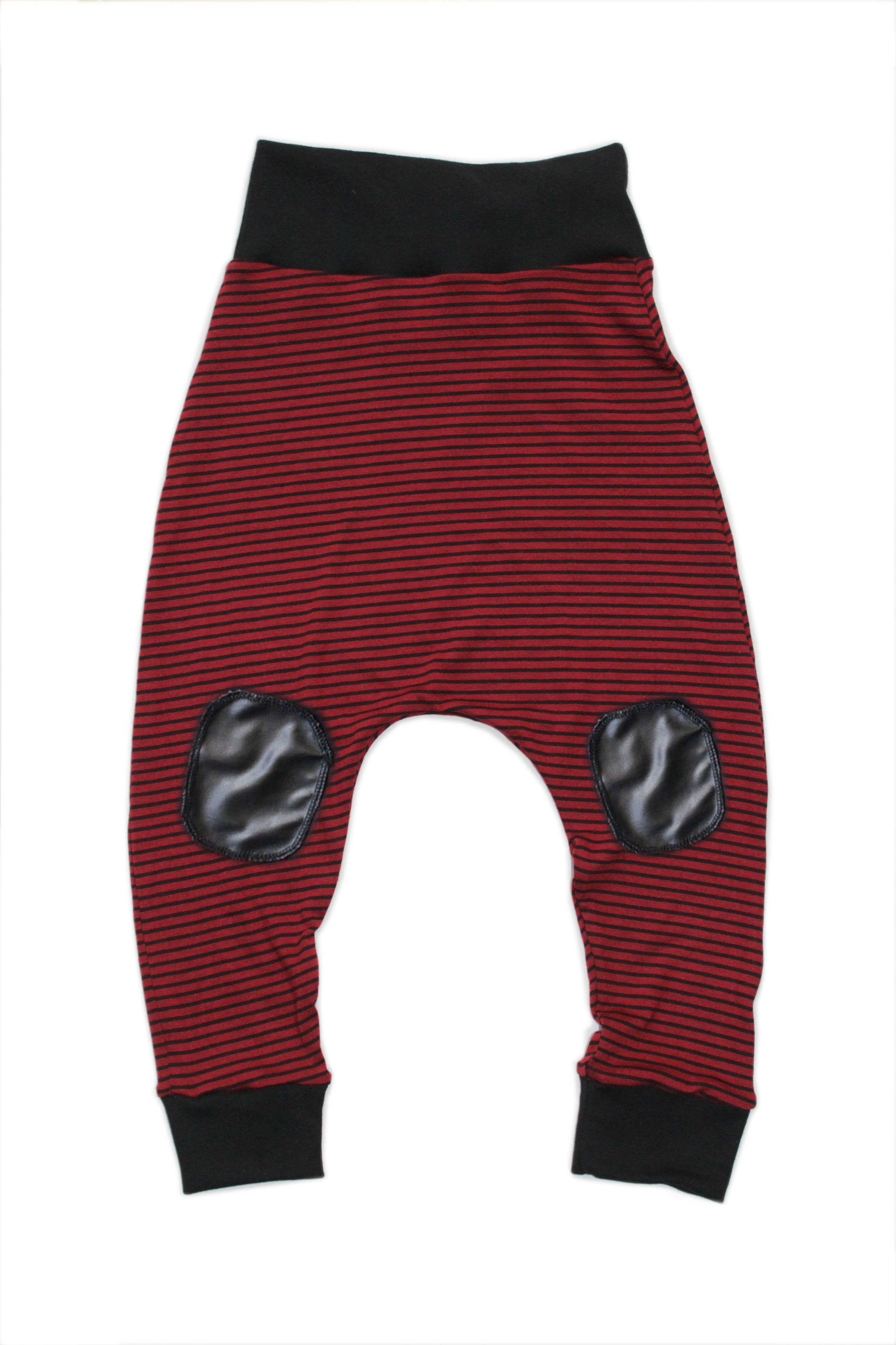 Red Black Stripe Patch Harems