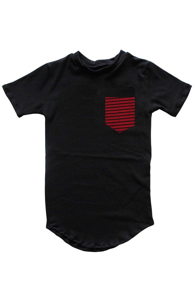 Pocket Tee | Red Black Stripe