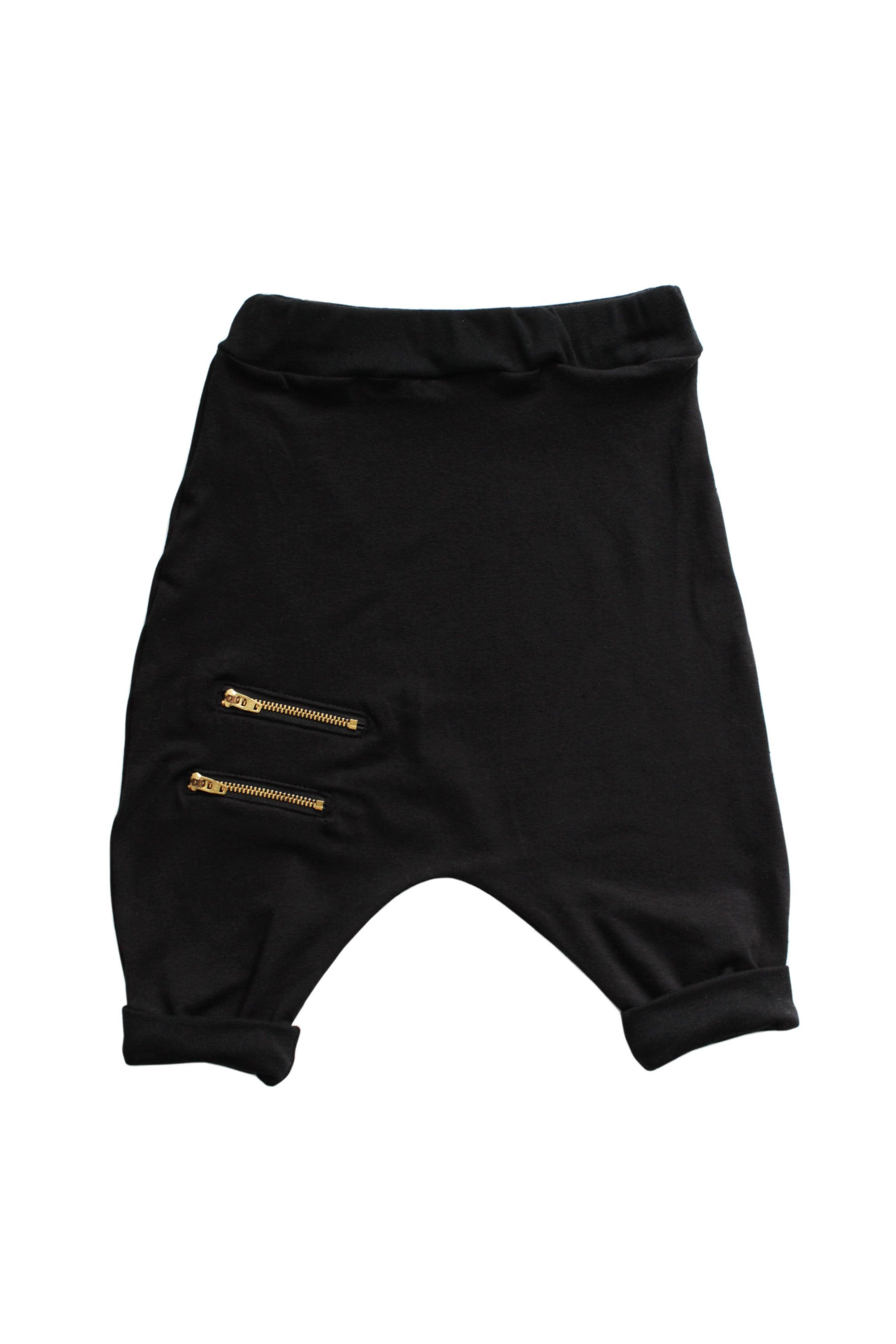 Zipper Harem Shorts - Black