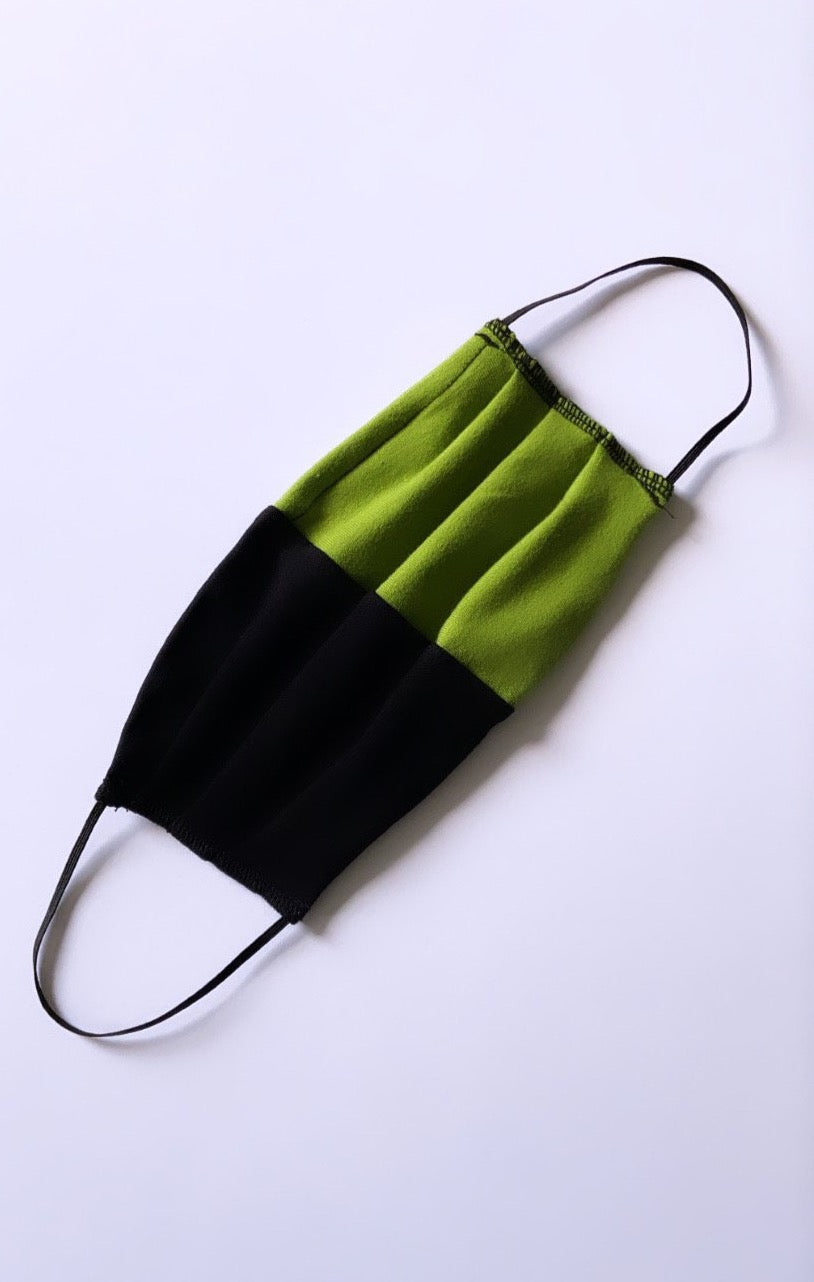 Two Tone Face Mask - Pear Green & Black