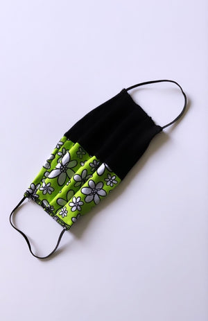 Two Tone Face Mask - Lime Green Daisy & Black