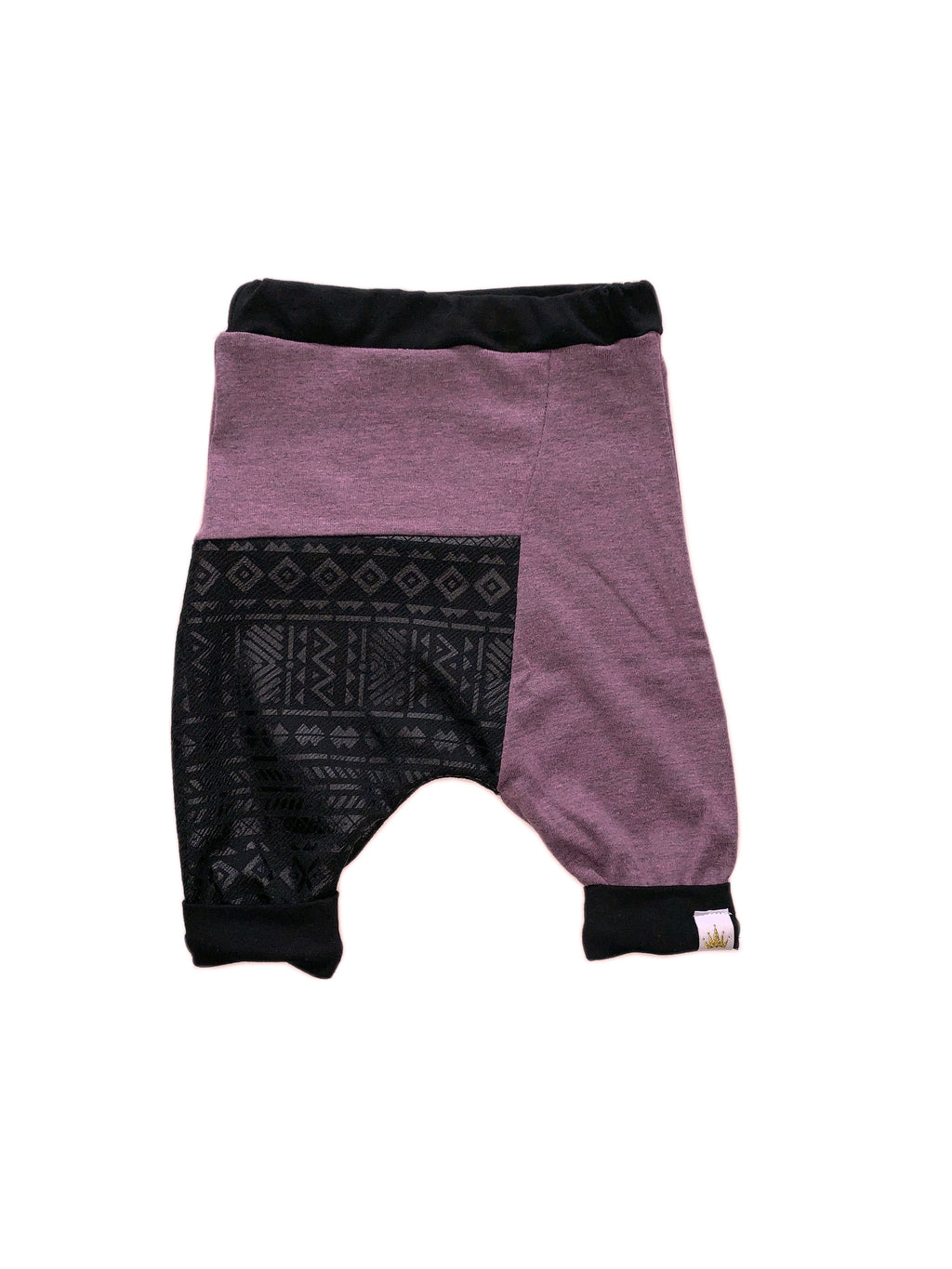 Seafoam Purple & Aztec Black Two Tone Harem Shorts