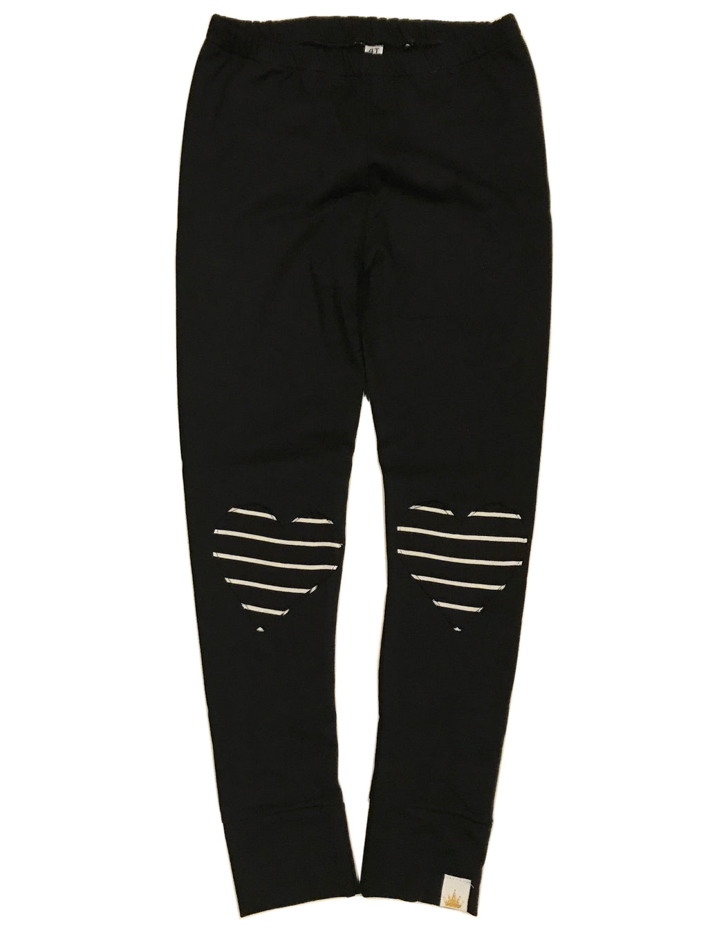 Stripe Heart Patch Leggings