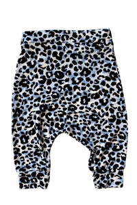 Blue Leopard Harem Shorts