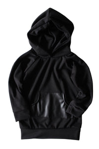 Black Faux Leather Hooded Pullover