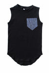 Tail Pocket Tank | Tri Blend Blue Pocket