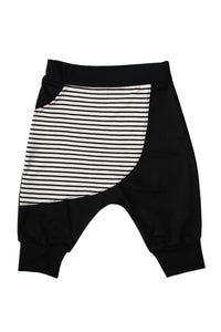 Stripe Kangaroo Pocket Harem Shorts
