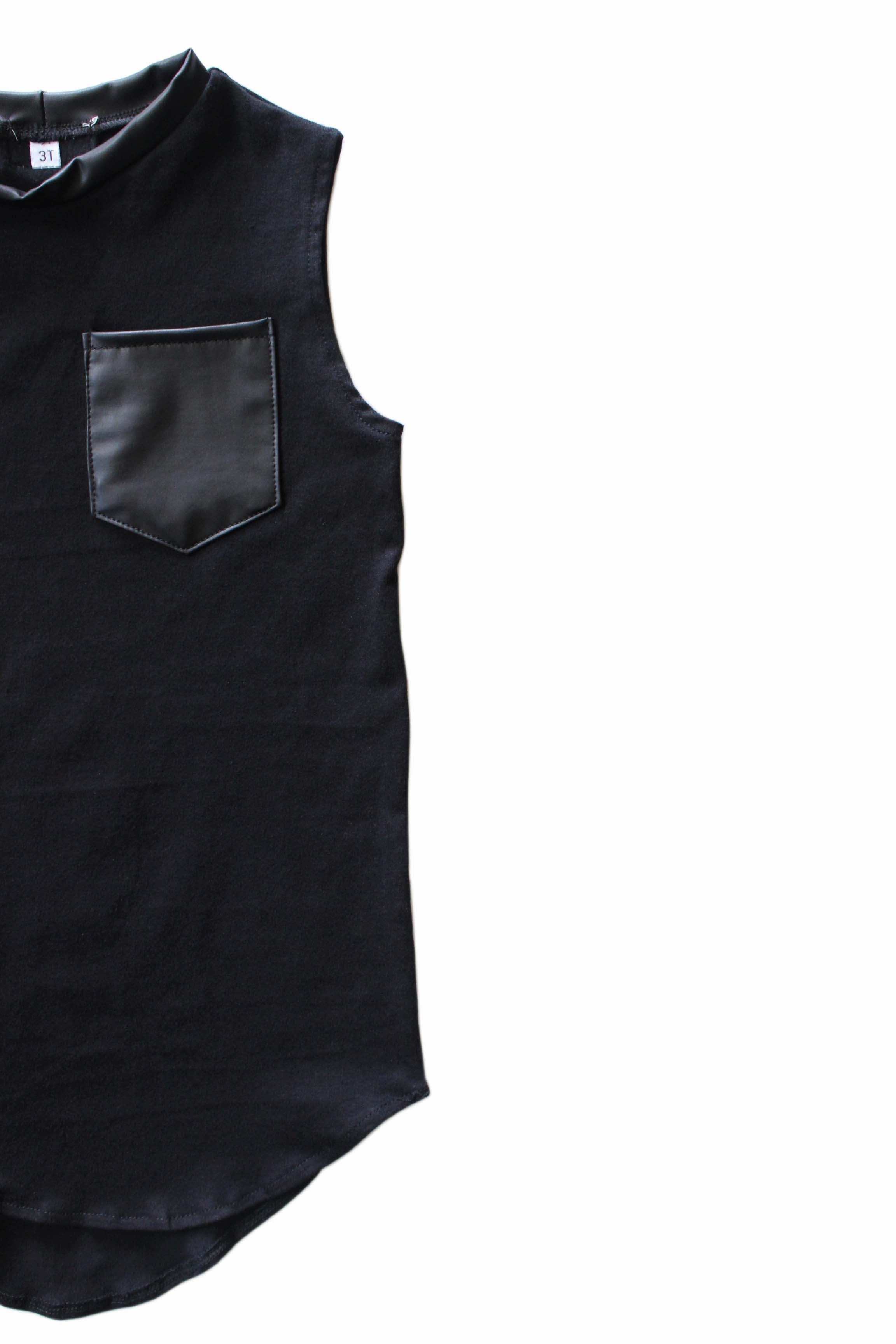 Tail Pocket Tank | Black & Faux Leather