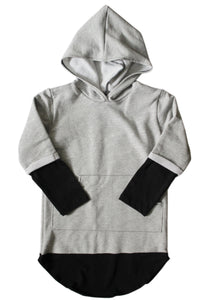 Hooded Long Sleeve - Grey & Black