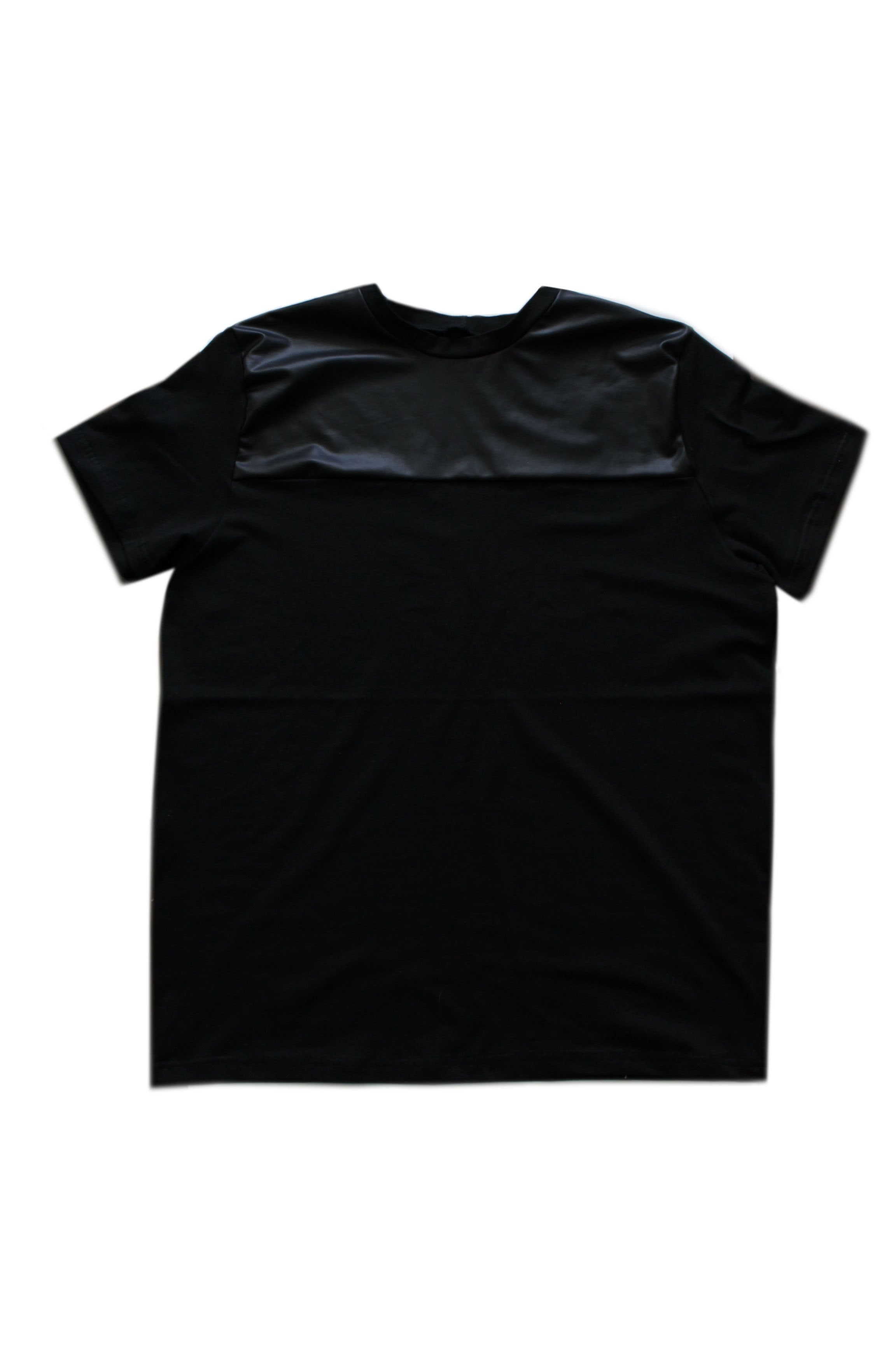Men- Faux Leather Contrast Tee