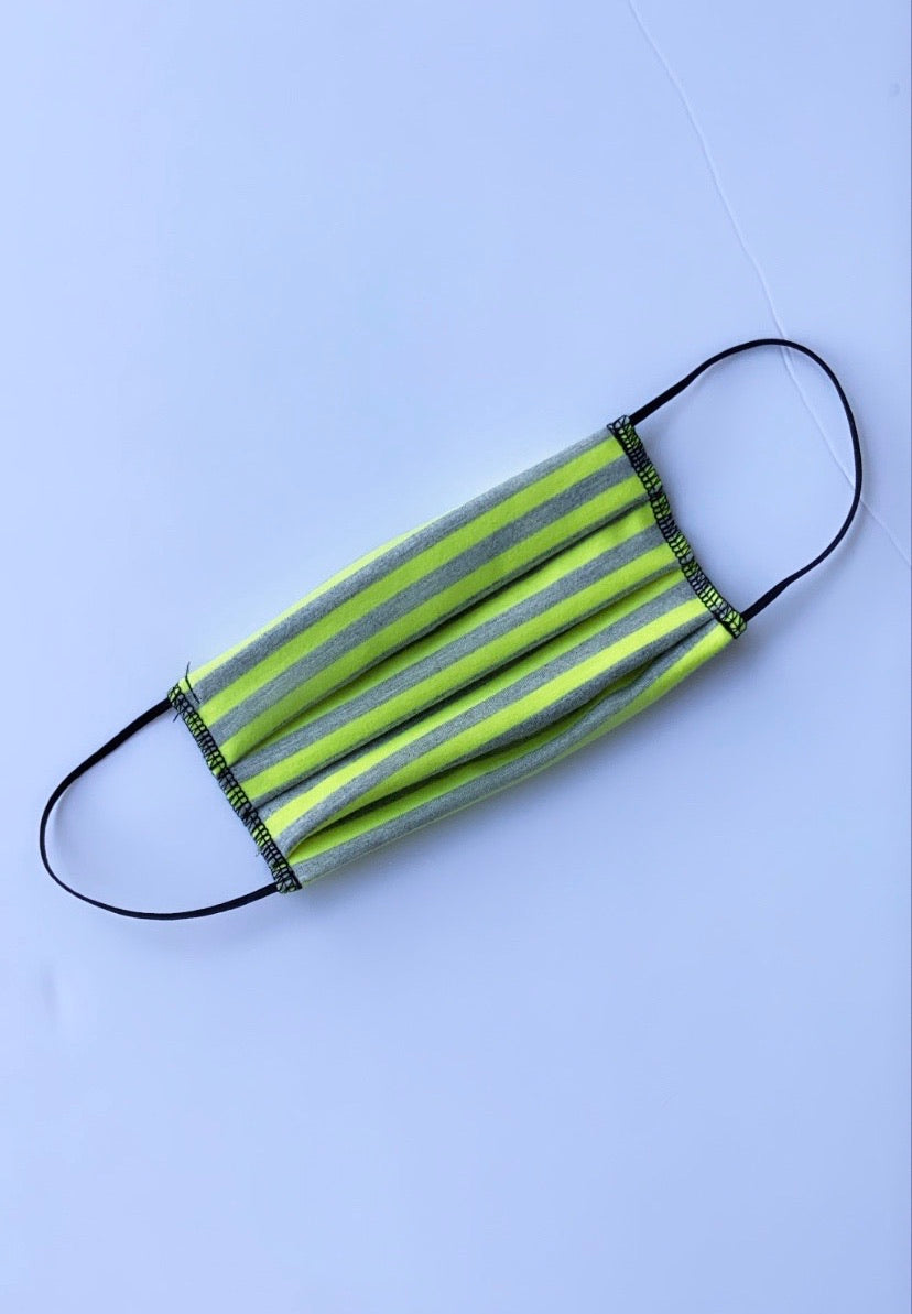 Face Mask Lime Green Grey Striped