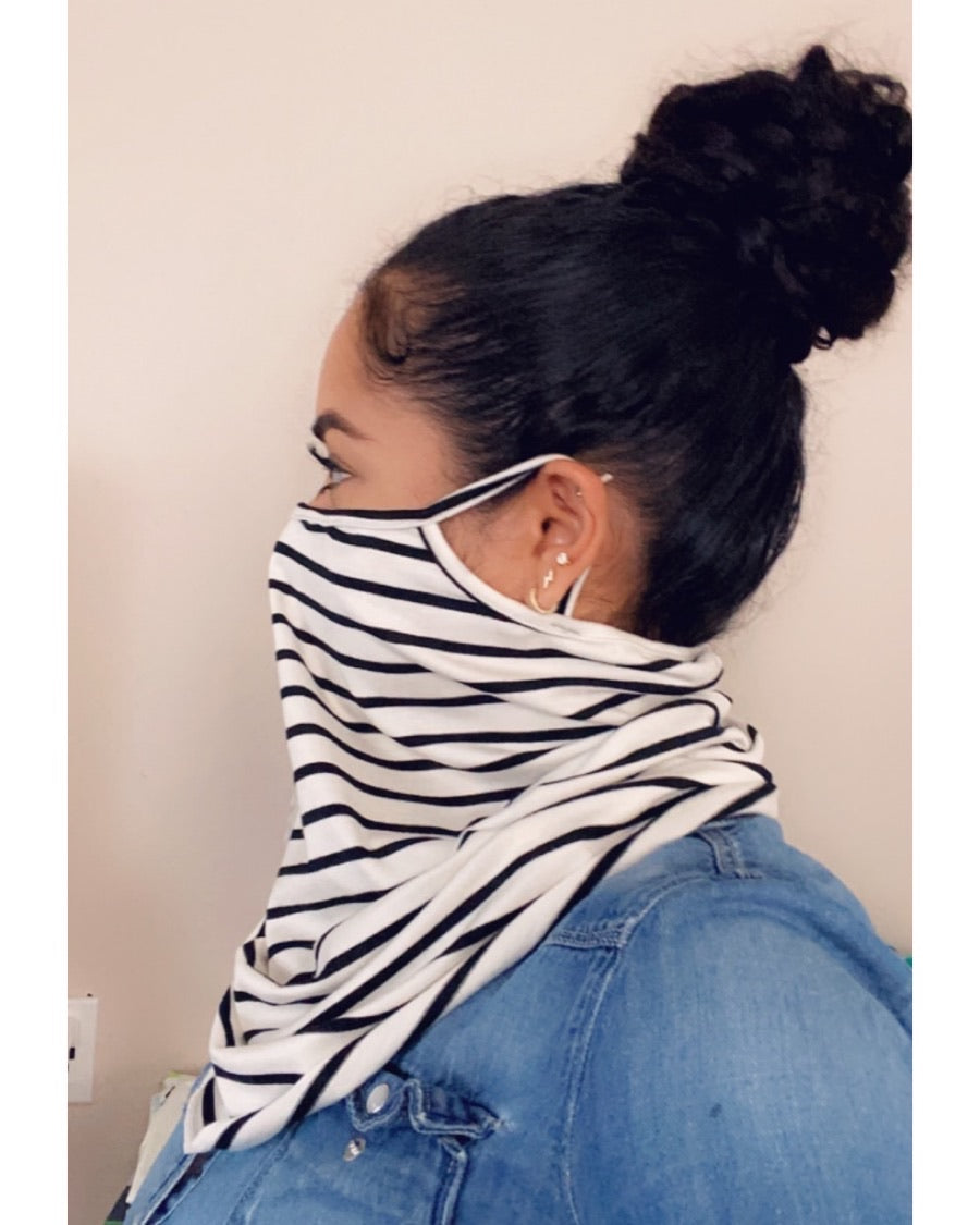 B/W Striped Face Mask Scarf