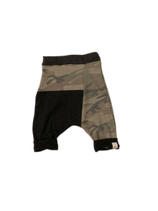 Olive Camo Two Tone Harem Shorts