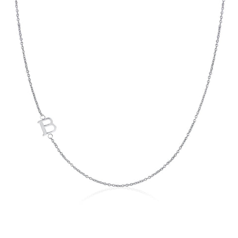 .925 Sterling Silver Sideway Letter B Necklace (18k white gold plating) | .925純銀鍍18K金B字母項鍊