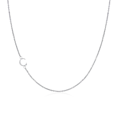 .925 Sterling Silver Sideway Letter C Necklace (18k white gold plating) | .925純銀鍍18K金C字母項鍊