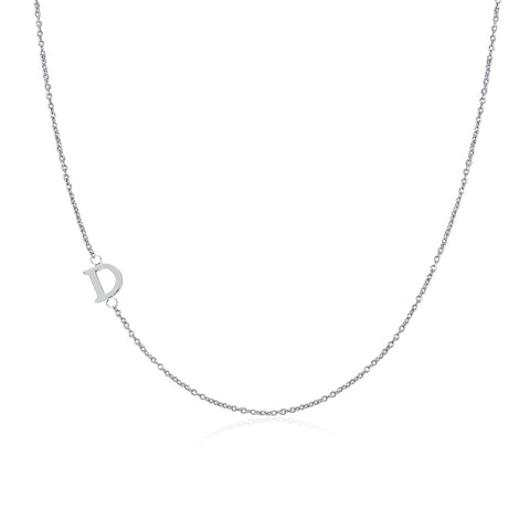 .925 Sterling Silver Sideway Letter D Necklace (18k white gold plating) | .925純銀鍍18K金D字母項鍊