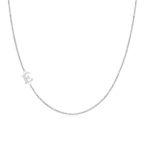 .925 Sterling Silver Sideway Letter E Necklace (18k white gold plating) | .925純銀鍍18K金E字母項鍊