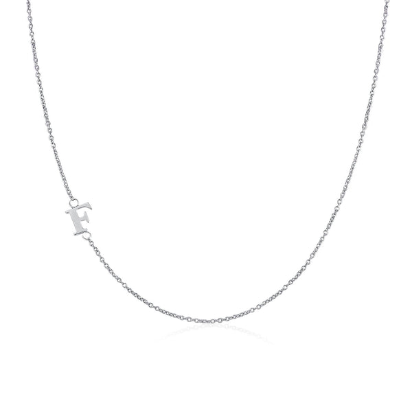 .925 Sterling Silver Sideway Letter F Necklace (18k white gold plating) | .925純銀鍍18K金F字母項鍊
