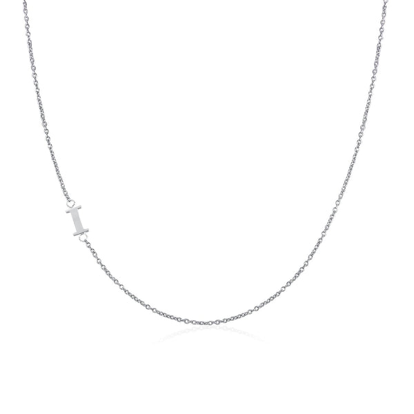 .925 Sterling Silver Sideway Letter I Necklace (18k white gold plating) | .925純銀鍍18K金I字母項鍊