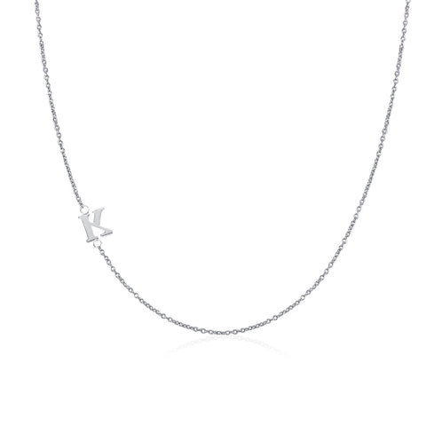 .925 Sterling Silver Sideway Letter K Necklace (18k white gold plating) | .925純銀鍍18K金K字母項鍊