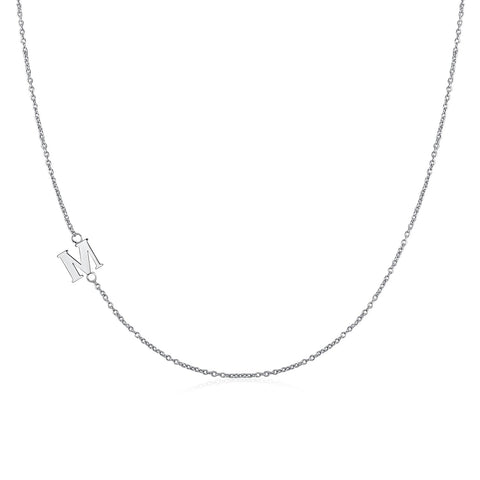 .925 Sterling Silver Sideway Letter M Necklace (18k white gold plating) | .925純銀鍍18K金M字母項鍊