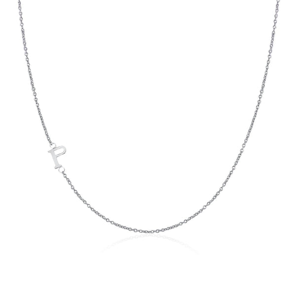 925 Sterling Silver Sideway Letter P Necklace (18k white gold plating) | .925純銀鍍18K金P字母項鍊