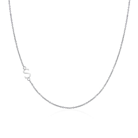 .925 Sterling Silver Sideway Letter S Necklace (18k white gold plating) | .925純銀鍍18K金S字母項鍊