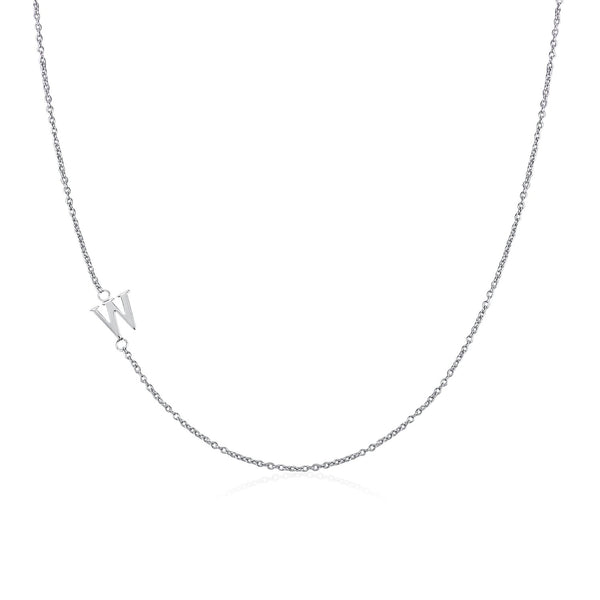 .925 Sterling Silver Sideway Letter W Necklace (18k white gold plating) | .925純銀鍍18K金W字母項鍊