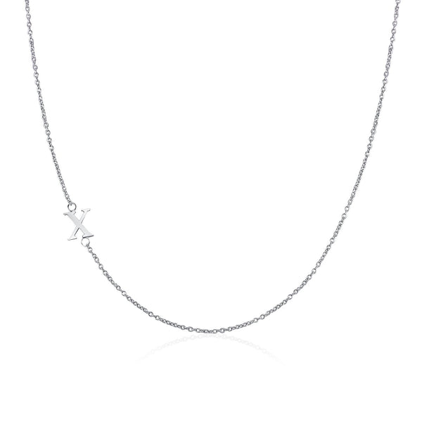.925 Sterling Silver Sideway Letter X Necklace (18k white gold plating) | .925純銀鍍18K金X字母項鍊