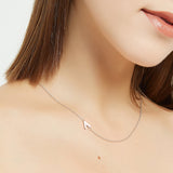 .925 Sterling Silver Sideway Letter A Necklace (18k white gold plating) | .925純銀鍍18K金A字母項鍊
