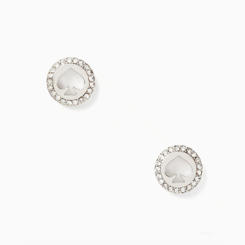 Kate Spade Spot The Spade Pave Halo Spade Studs・Silver | 銀色鏤空閃鑽耳環
