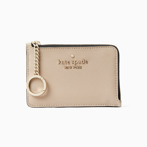 Kate Spade Staci Colorblock Medium L-Zip Cardholder・Warm Beige Multi  | Kate Spade Staci 十字紋拼色卡片套・Warm Beige