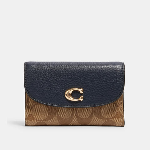 〔Pre-order〕 Coach Remi Medium Envelope Wallet Signature Canvas | 〔Pre-order〕 Coach Signature 真皮信封形銀包・午夜藍拼卡其色