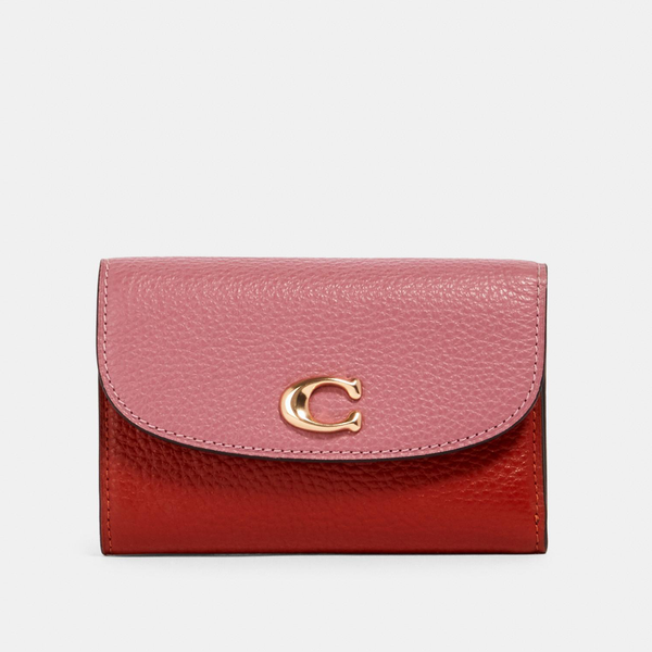 〔Pre-order〕 Coach Remi Medium Envelope Wallet Signature Canvas | 〔Pre-order〕 Coach Signature 真皮信封形銀包・粉紅色