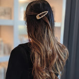 Pearl Open Shape Barrette Gold | 珍珠髮夾