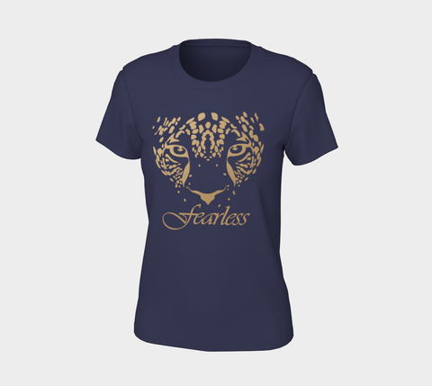 """Fearless"" Navy Gold Leopard Logo Slim-Fit T-Shirt"