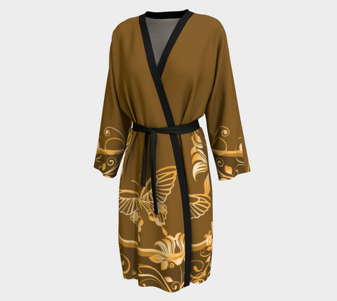 Brown/Gold Butterfly Long Kimono