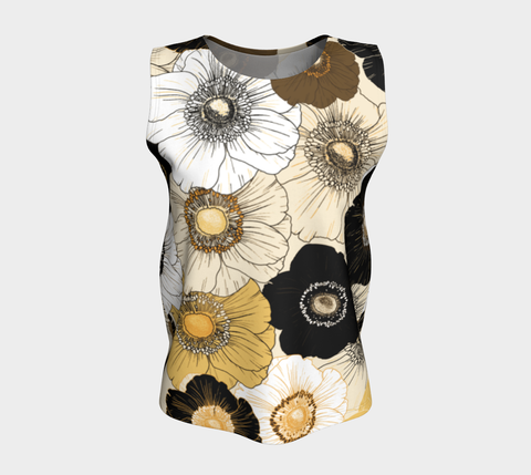 Gold/Cream/Black Bold Blooms Relaxed Fit Tank Top