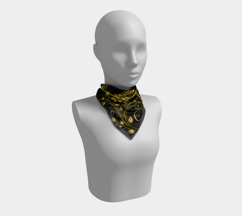 Black/Green/Gold Butterfly Square Scarf/Shawl