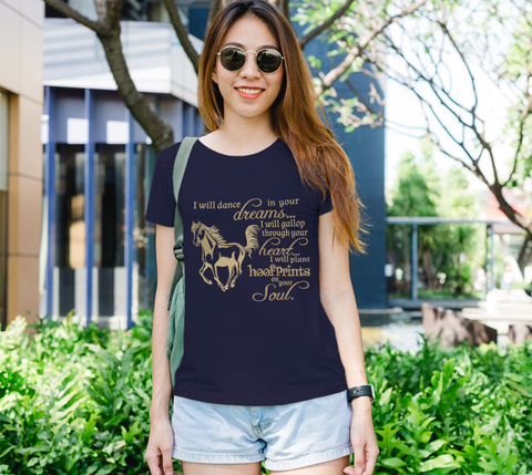 "Horse Lovers ""I will dance..."" Women's Gold Galloping Horse Navy Slim-Fit T-Shirt"