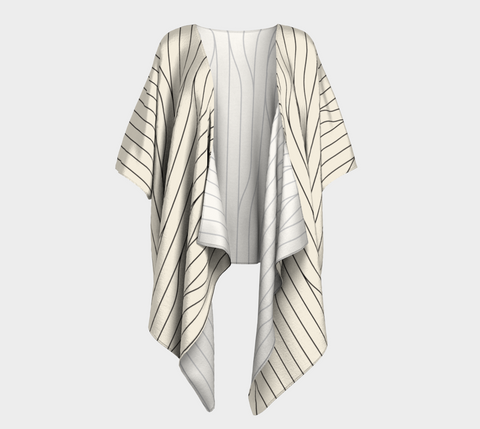 Chamois Stripes Savanna Neutral Draped Kimono