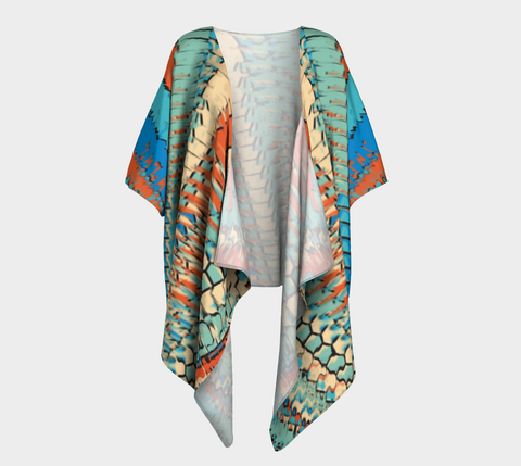 Orange & Blue Shianna Draped Kimono