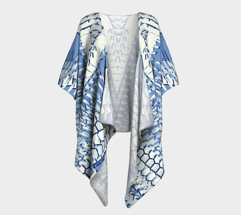 Winter White & Denim Blue Shianna Draped Kimono