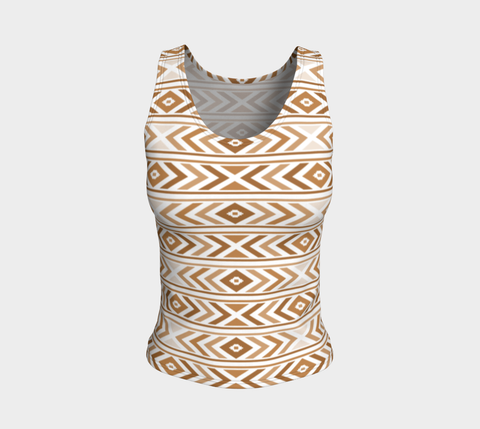 Tan Chevron Fitted Tank Top (Regular)